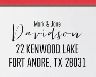 CUSTOM ADDRESS STAMP, preinked return address stamp, Calligraphy Address Stamp, Family gift - 7V