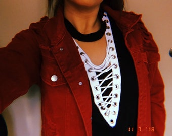a6ad2117ab Black Lace Up T-Shirt with white eyelet tape  Black Lace Up T-Shirt with  black eyelet tape  LF inspired