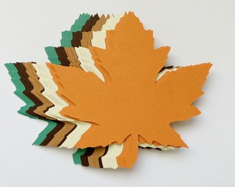 """New Color Combo! 6.0"""" x 6.1"""" inch Large Fall Maple Leaves Die Cuts Thanksgiving Gift Tags Leaf punch"""
