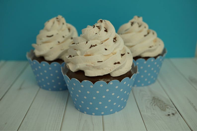 Light Blue with White Polka Dots  Cupcake Wrappers Standard image 0