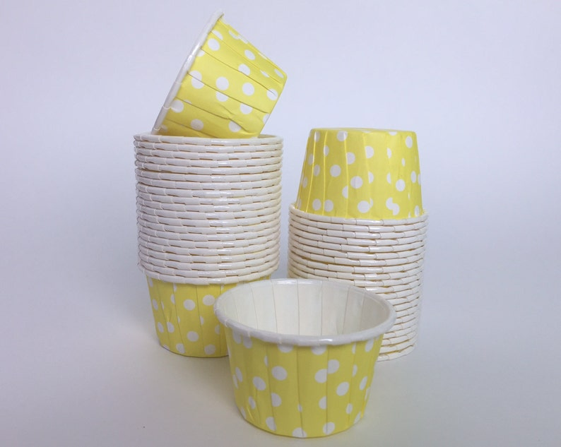 24 Mini Cupcake Liners in Yellow Baking Cups Candy Nut image 0