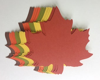 100 of 4 inch Large Fall Maple Leaves Die Cuts Thanksgiving Gift Tags Scrapbooking Card embellishment Leave Punches set of 100