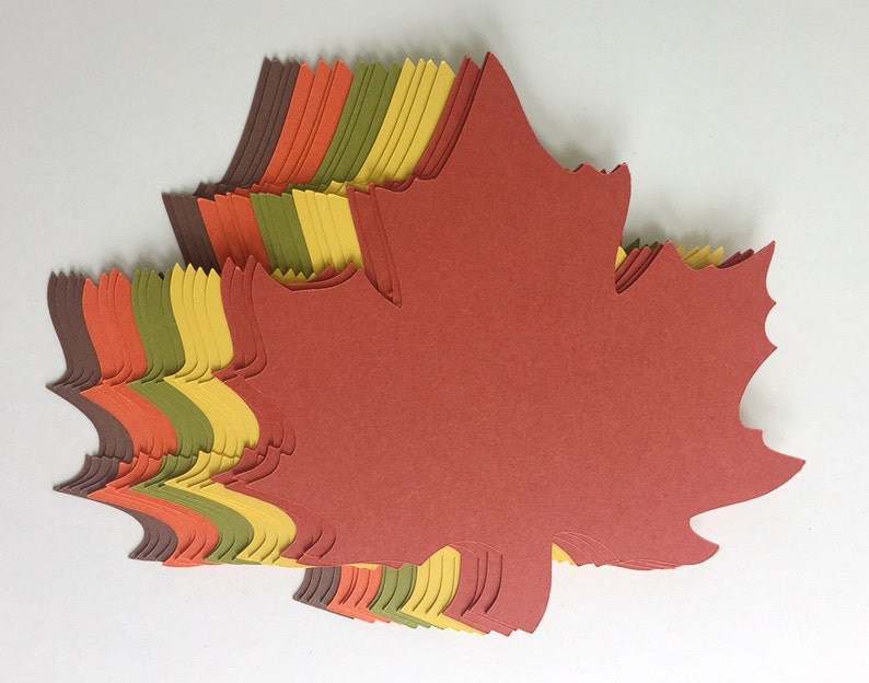 100 of 4 inch Large Fall Maple Leaves Die Cuts Thanksgiving image 0