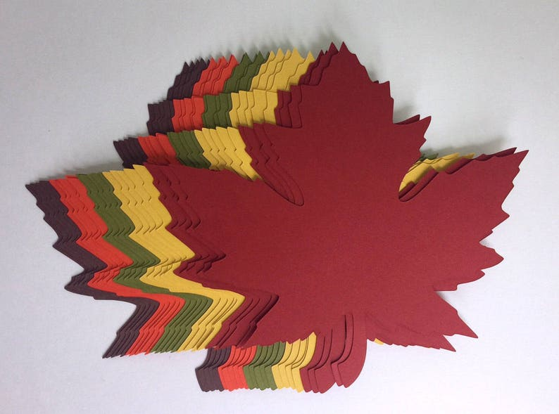100 of 4 inch Large Fall Maple Leaves Die Cuts image 0