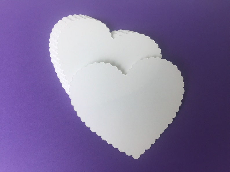 20 Large White Scallop Hearts Die Cut 3 inch  Bride And Groom image 0