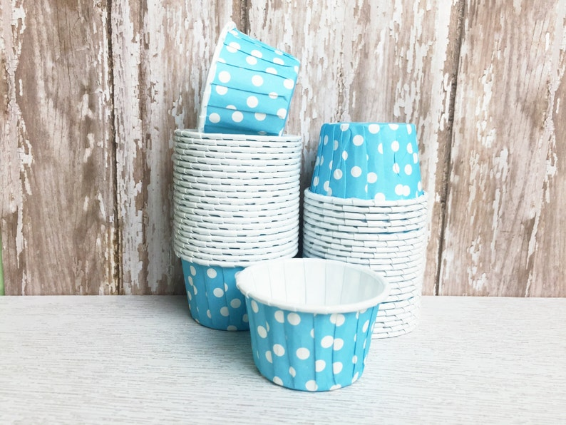 24 Mini Cupcake Liners in Blue Baking Cups Candy Nut Dessert image 0