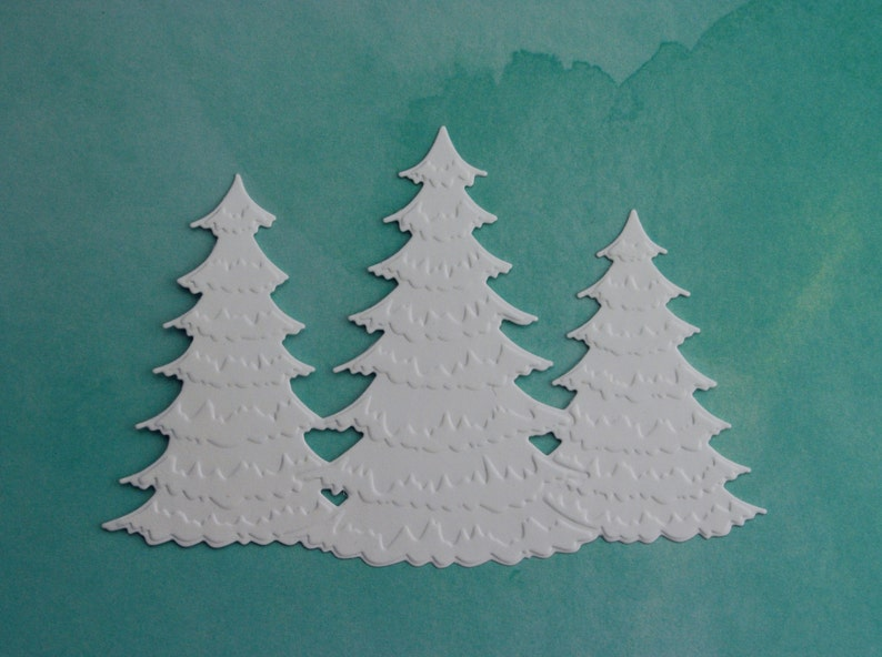 8 Winter frosted christmas tree trio Die Cuts Christmas card image 0