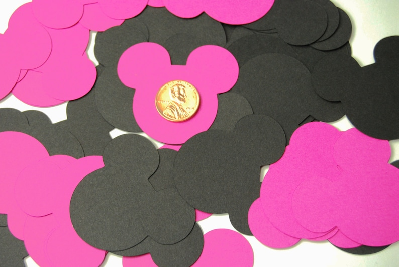 40 Large Pink/Black Mickey Mouse Confetti Mickey Mouse image 0