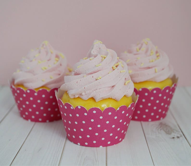 Dark Hot Pink with White Polka Dots  Cupcake Wrappers image 0