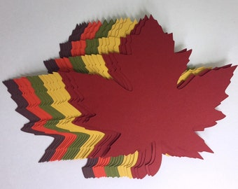 """READY TO SHIP! 200 of 4 inch Large Fall Maple Leaves Die Cuts (4.2""""x4.3"""") Gift Tags Scrapbooking Card embellishment Leave Punches set of 200"""