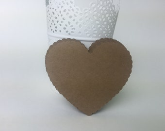 """20 Large Kraft Scallop Hearts Die Cut 3 inch , Bride And Groom Advice Cards, DIY Weddings, Escort Cards, Wish tags(2.9""""x3.4"""")"""