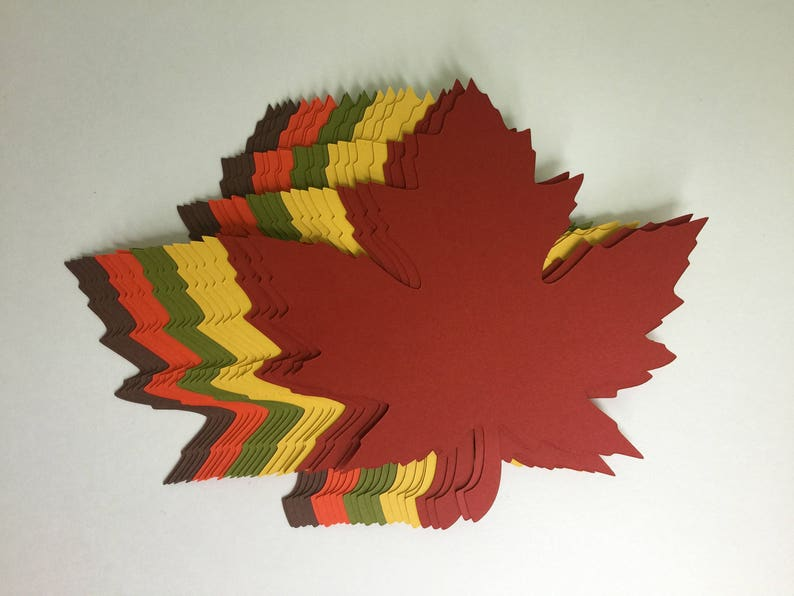 200 of 4 inch Large Fall Maple Leaves Die Cuts image 0