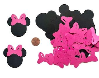 40  Minnie Mouse die cuts  2 x 2 1/8 inches, Minnie Birthday, Minnie Mouse Baby Shower, Minnie Party, Minnie Bow TieDisney die cut