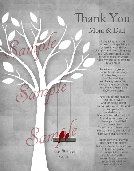 Parents De Mariage Cadeau Poème Personnalisé Parent Cadeau Merci Parent Cadeaux De Fête De Mariage Pour Nos Parents Je Vous Remercie Poème Pour
