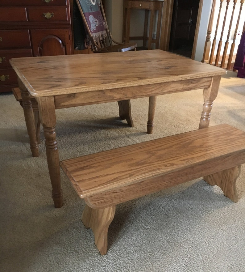 Beautiful Kids Wooden Table And Bench Set