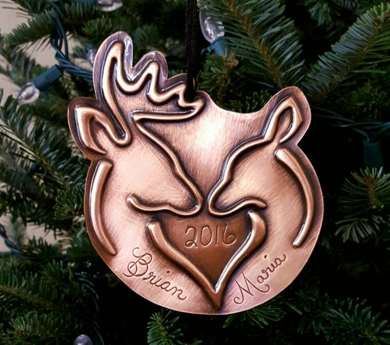 Copper Christmas Ornaments.Buck And Doe Heart Personalized Buck Doe Ornament Copper Ornament Christmas Ornaments Wedding Gift Anniversary Gift Hunter Gift