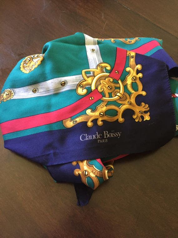 Claude Boissy (Paris) Scarf, 34 in square.