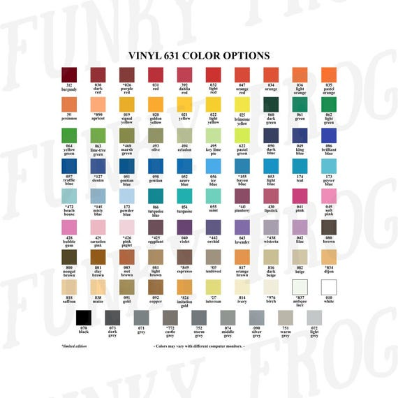 Download Vinyl Color Options Chart Oracal 631 651 751 Etsy