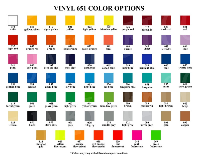 Vinyl Color Options Chart for Store Owners, Color Mockups, Oracal 631, 651,  751, Digital Download