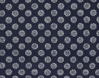 Japanese import New indigo colored cotton quilting fabric  - small chrysanthemum kiku blossom