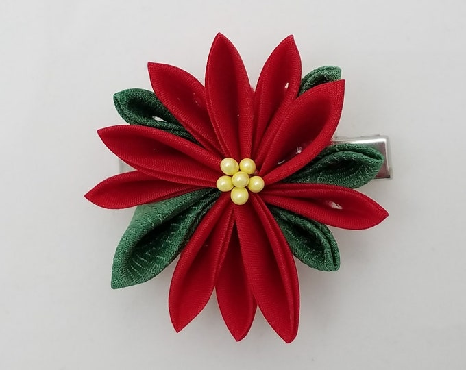 Featured listing image: Red poinsettia Kanzashi Christmas or holiday hair clip