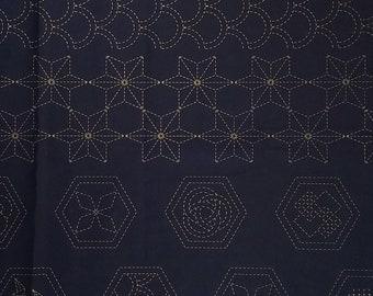 Sashiko pre-printed wash-away pattern sampler panel - Crests and traditional designs hm-21