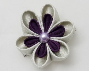 Silver-gray and deep purple plum shibori floral kanzashi hair clip