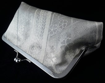 Obi silk clutch purse bridal evening bag with metal kiss lock closure - silver cherry blossoms and waves