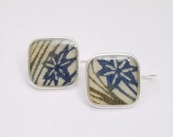 Sterling silver pendant earrings with blue and green abstract maple leaf patterned kimono fabric