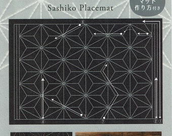 "Olympus sashiko pre-printed wash-away pattern placemat sampler - ""Asanoha"" hemp leaf on navy indigo cotton"
