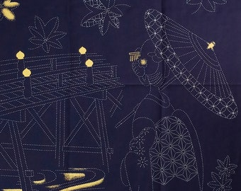 Sashiko pre-printed wash-away pattern sampler panel - Geisha in Kimono and bridge on dark navy with gold accents