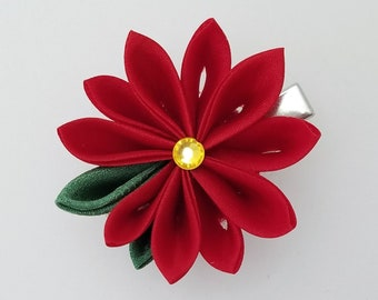 Red poinsettia Kanzashi Christmas or holiday hair clip