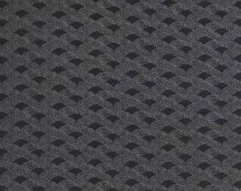 Traditional indigo basics quilting cotton  - faux stitched wave design