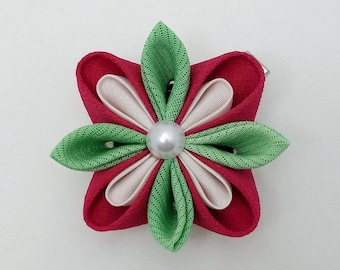 Magenta and green floral kanzashi hair clip