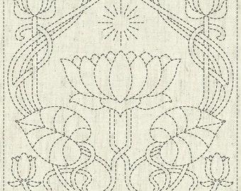 "QH Textiles sashiko pre-printed wash-away pattern sampler - water lotus ""Serenity"" pattern on natural beige greige"