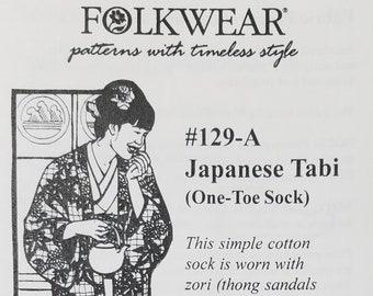 Folkware sewing pattern #129-A Japanese Tabi - Women's size shoe 4 - 10.5