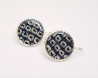 Sterling silver pendant earrings with denim blue and white colored shibori kimono fabric