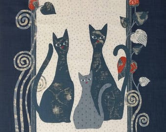 New Japanese cotton Noren quilting panel cloth - cats