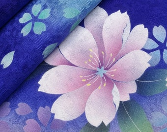 Deep indigo violet silk furisode kimono fabric panel - falling sakura cherry blossoms