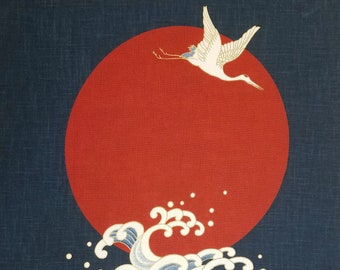 New Japanese cotton Noren quilting panel cloth - Flying cranes, waves and moon