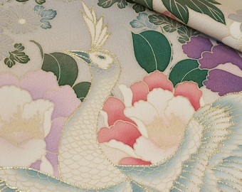 Peachy pink furisode kimono sleeve fabric panel - floral and peacock design