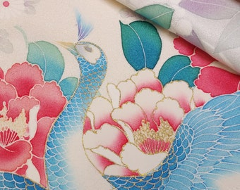 Creme furisode kimono sleeve fabric panel - floral and peacock design