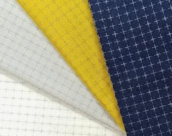 Yokota Daruma wash-away dot grid sashiko fabric - White, Gray, Navy Blue or Mustard Yellow