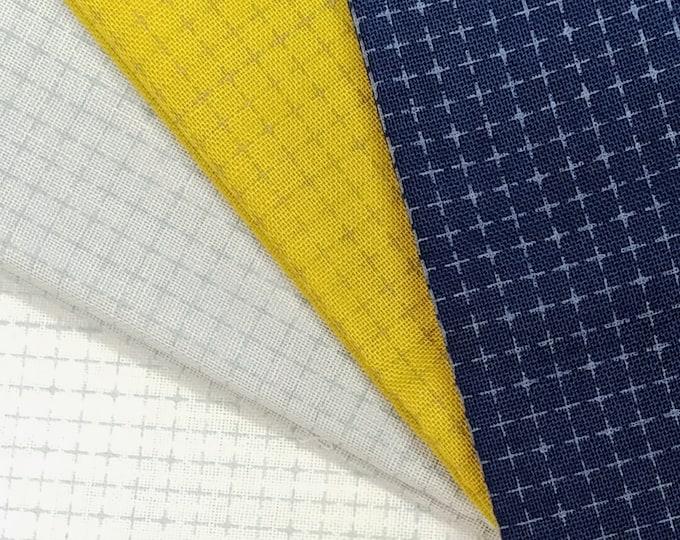 Featured listing image: Yokota Daruma wash-away grid sashiko fabric - White, Gray, Navy Blue or Mustard Yellow