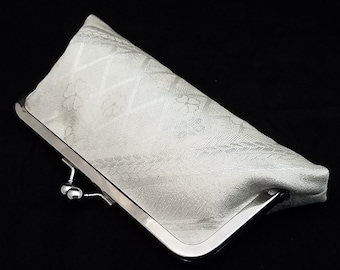 Slim obi silk clutch purse bridal evening bag with metal kiss lock closure - silver cherry blossoms and waves