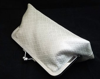 Obi silk clutch purse bridal evening bag with metal kiss lock closure - silver diamonds
