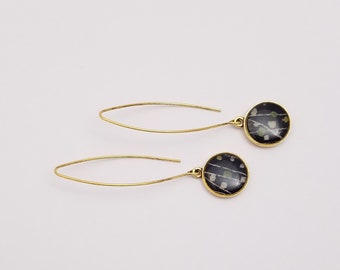 24k gold pendant earrings with vintage, black patterned kimono silk fabric