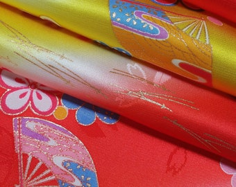 Yellow and red silk rinzu damask kimono fabric with fan and plum blossom pattern - by the yard