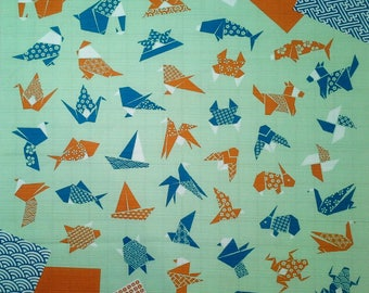 Japanese cotton furoshiki wrapping cloth - Origami animals