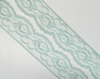 Vintage sea foam green floral  rose lace trim- by the yard